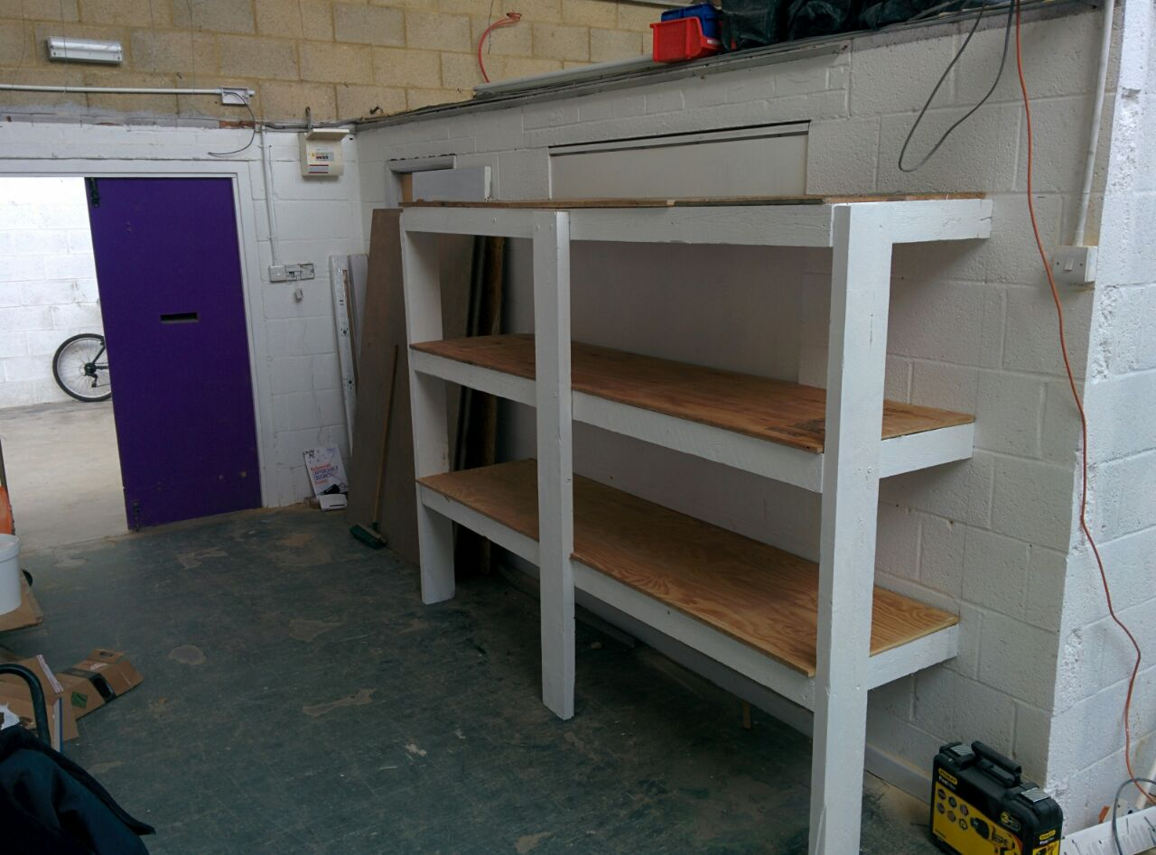 Storage rack - with shelves on, ready for boxes