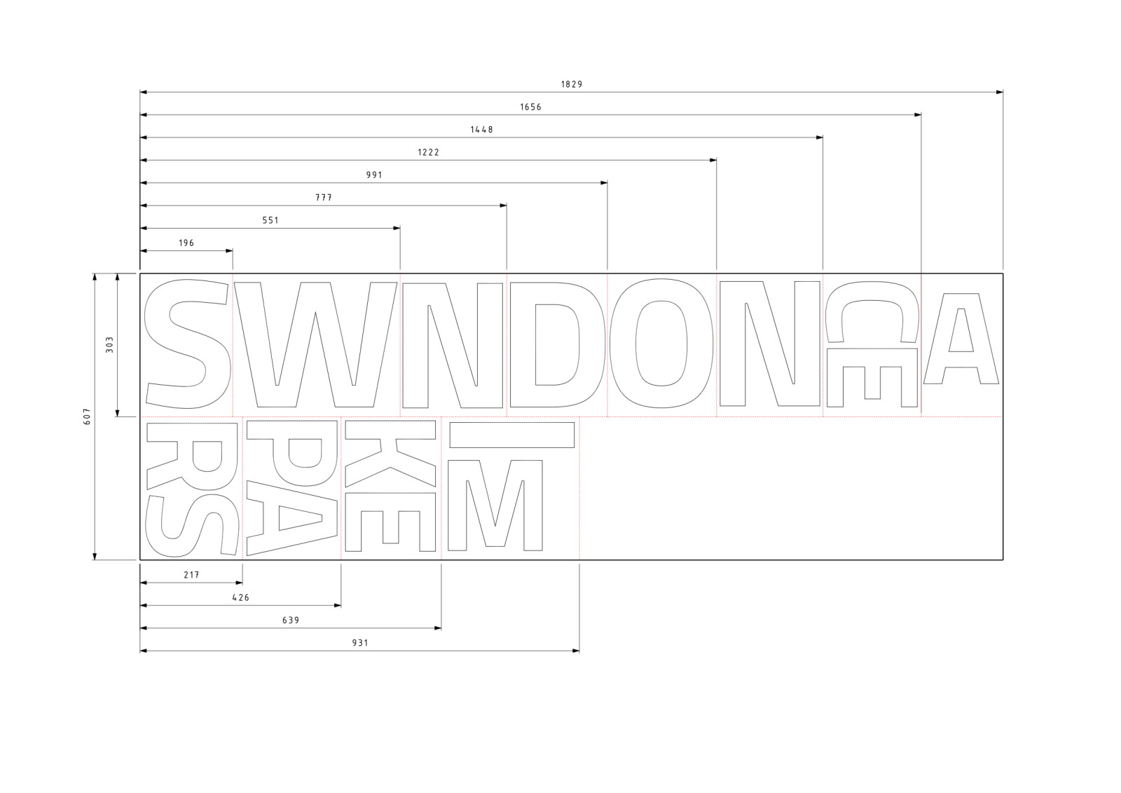 Swindon Makerspace Sign Cutting Layout - Dims